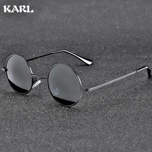 Classic Retro Polarized Sunglasses Men KARL Brand Design Fashion Round Frame Driving Glasses Women UV400