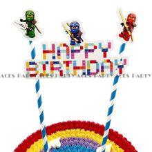생일 파티 장식 케이크 토퍼 ninjago 닌자 만화 케이크 용품 어린이를위한 테마 베이비 샤워