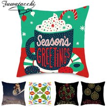 Fuwatacchi Cartoon Style Animals Cushion Cover Christmas Trees Pillow Case Home Decorative White Pillows for Sofa Car Seat