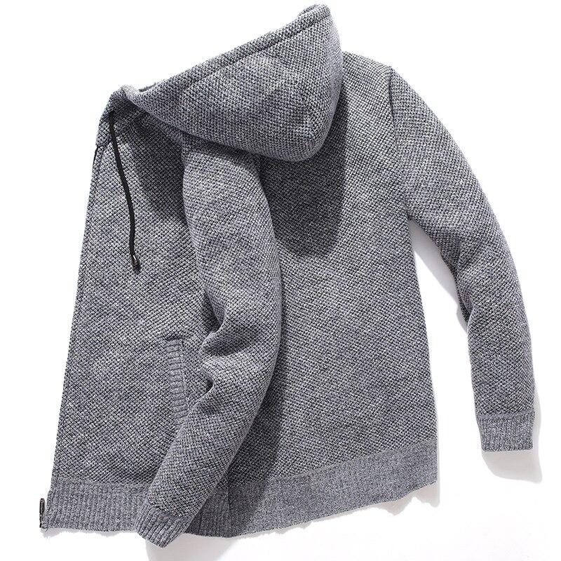 Cardigan tricoté à capuche pour hommes, pull en molleton surdimensionné, sweat-shirt solide, hiver, décontracté
