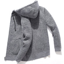 Suéter de punto con capucha para hombre, cárdigan de lana de gran tamaño, sudaderas con capucha sólidas informales para invierno, abrigos de punto para hombre
