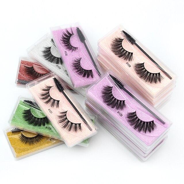 Wholesale Eyelashes 5/30/40/150pcs Fluffy 3d Mink Lashes Natural Makeup False Lashes Flase Eyelashes Set with Cosmetic Brushes 5