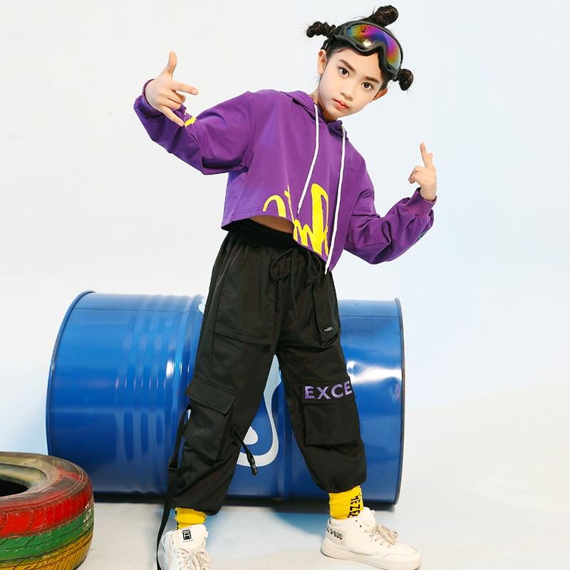 Children'S Hip-Hop Dance Costumes Hooded Sweater Hiphop Pants Suit Girls Jazz Street Dance Costume Ballroom Dance Wear DQS4000