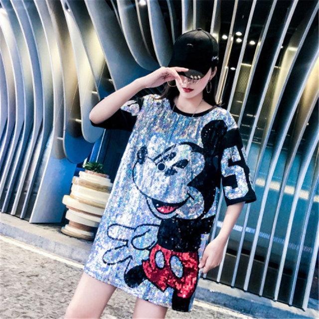 Women Summer Plus Size Dress Short Sleeve Streetwear Casual Loose O-Neck   Sequin Party Club Mini Dresses 4