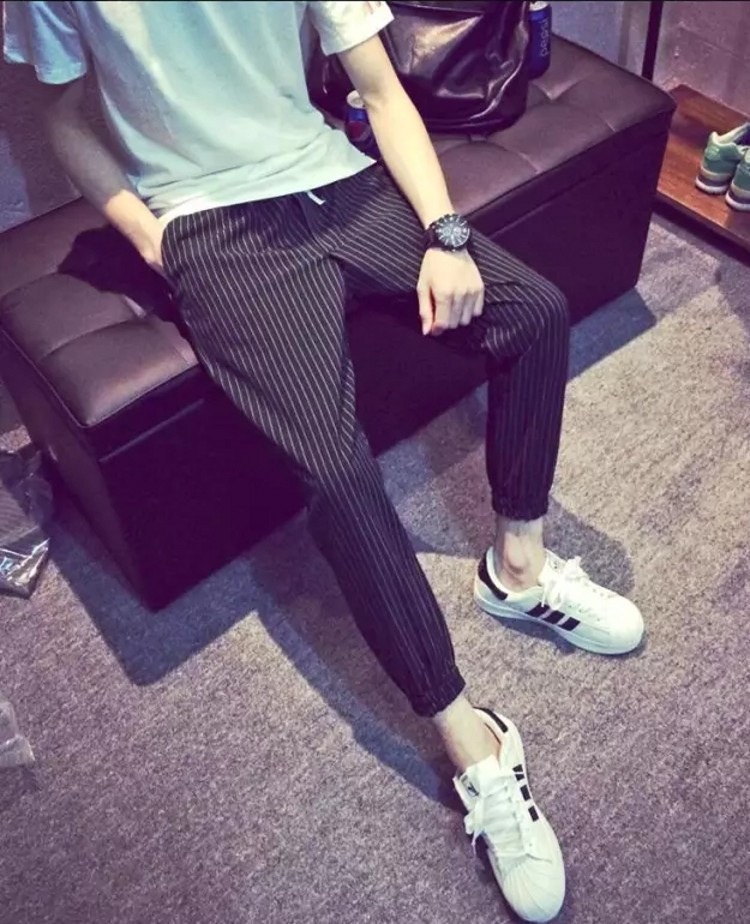 Thin Stripes Harem Pants 9 Points Ankle Banded Pants Slim Fit Skinny Pants Spring Capri Casual Pants Men's