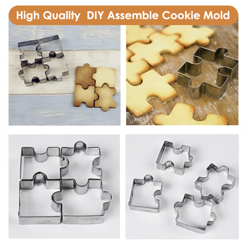 VOGVIGO 4Pcs 3D Stainless Steel Cookie Puzzle Shape Cookie Cutters Toast Cutter DIY Biscuit Dessert Bakeware Cake Fondant Mold