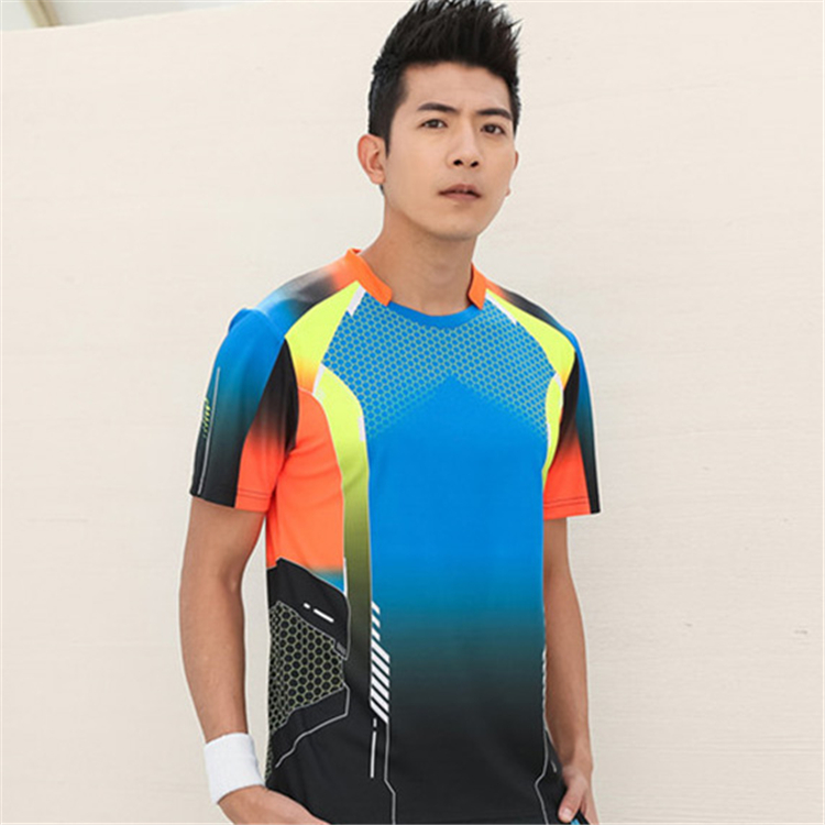 Быстросохнущая, впитывающая пот и дышащая рубашка для бадминтона, топ для соревнований, тренировочный костюм для бега, мужской и женский короткий рукав - Цвет: 1817Amale3