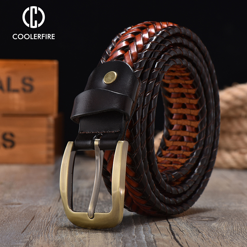 Men Genuine Leather Braided Belts Webbing High Quality Hand Vintage Belts for Men Gold Pin Buckle Casual for Jeans Strap HQ212