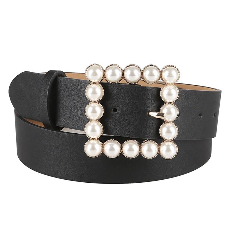 Black Belt Plus Size Belts For Women Waist Cinturon Mujer 2020 Pearl Bukcle Snake Belt Wide Fashion Jeans Accessories Riem