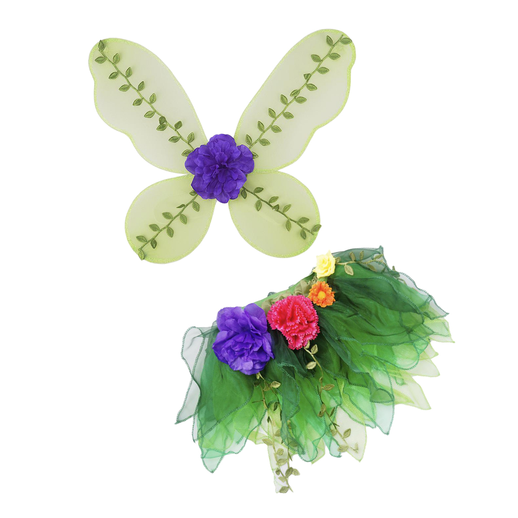 Kids Green Fairy Dress Girls Butterfly Wing Costume