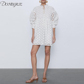 2020 New women summer dress white Embroidered elegant semi sheer dress casual fashion chic lady robe femme fleece dot applique semi sheer top