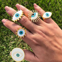 2020 New Cute Vintage White Oil Drop Evil Eye Knuckle Rings For Women Ladies Personalized Gold Ring Set Eye Shape Ring