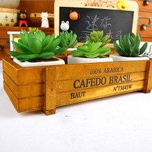 Maceta para planta de jardín decorativo Vintage suculentas macetas cajas de madera cajas rectangulares Mesa maceta flor Dispositivo de jardinería #15