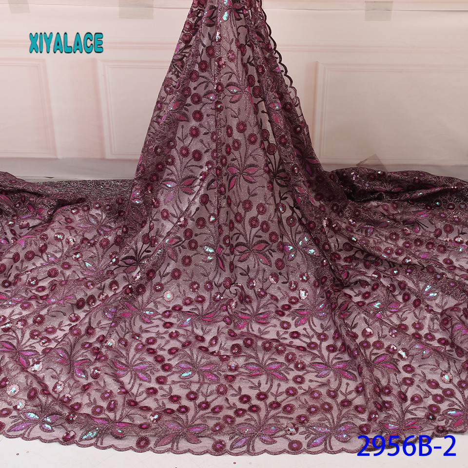 African Lace Fabric 2019 Luxury High Quality Nigerian French Lace Sequins Lace Fabric Fabric For Wedding YA2956B-2