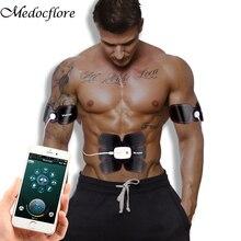 بلوتوث التحكم الذكية اللياقة البدنية تدريب البطن عشرات العضلات محفز EMS الأسلحة مدلك الكهربائية فقدان الوزن ماكينة الجسم