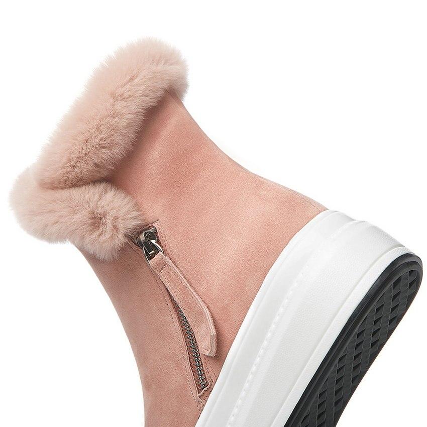 ENMAYER 2019 mode enfant daim bottines pour femmes bout rond plat avec talon Zip hiver neige bottes en peluche femmes chaussures taille 34 40 - 3