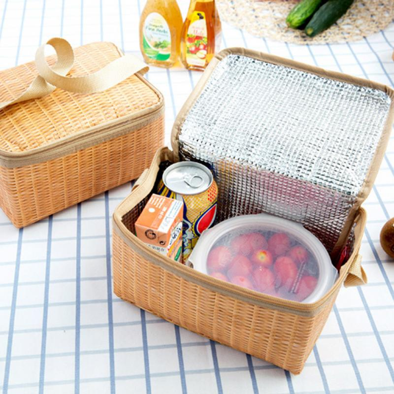 Portable Rattan Print Handbag Lunch Bag Office Fruit Pouch Picnic Insulated Food