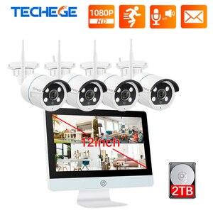 Image 1 - Techege 8CH 1080P 12 Inch Lcd Nvr Draadloze Cctv Camera Systeem Kit 2MP Twee Weg Audio Wifi Camera kit Video Surveillance