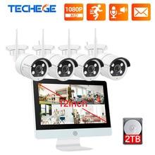Techege sistema de cámaras de seguridad inalámbrico, 8 canales, 1080P, 12 pulgadas, LCD, NVR, Kit de cámaras de seguridad, Audio bidireccional de 2MP, juego de cámara con WIFI, videovigilancia