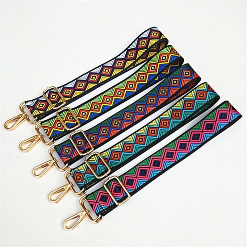 O Bag Straps Shoulder Accessories For Women High Quality Rainbow Adjustable Handbag Hanger Bag Straps Decorative Chain Bag Nylon