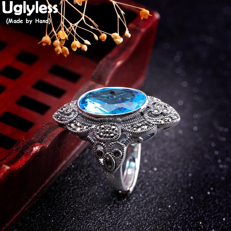 Sans Uglyless Noble bleu Zircon anneaux pour les femmes exagéré grand ouvert anneau 925 Thai argent Marcasite losange Bijoux Bijoux fins R933