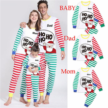 Family Christmas Pajamas Mother Father Baby Set Contrast Color Matching Clothes Mum Daughter Striped Sleep Shirt