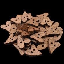 50 шт. коричневые деревянные пуговицы в форме сердца, деревянные пуговицы для шитья, скрапбукинга, 2 отверстия, аксессуары для шитья, Мультяшные деревянные пуговицы