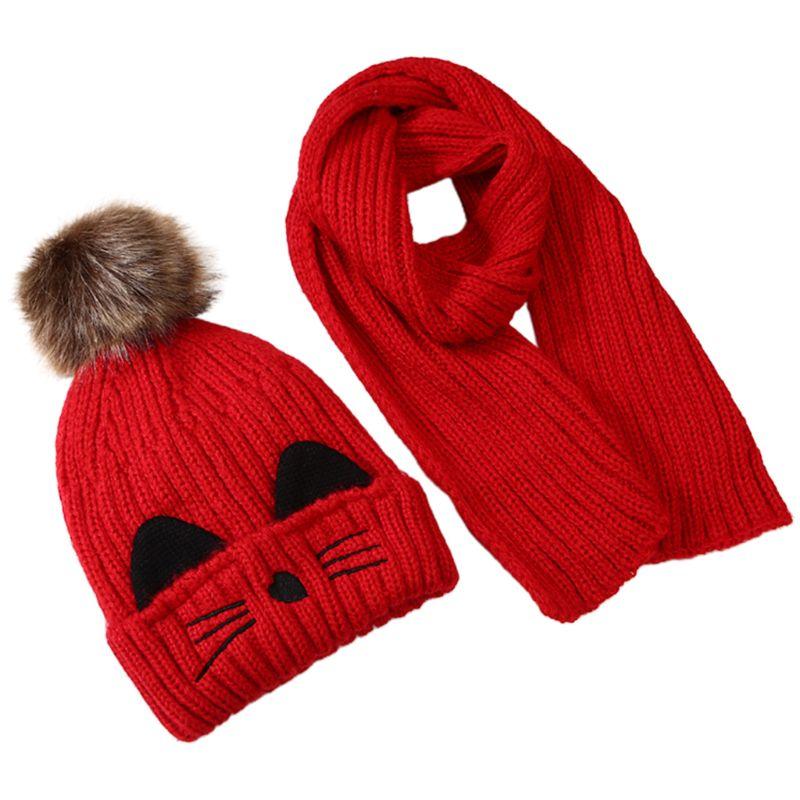Kitty Pattern Kid Children Scarf Hat Set Knitted  Fluffy Pompom Kids Head Cap Shawl