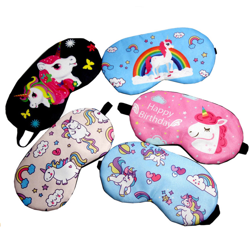 Cute Unicorn Cartoon Eye Cover Sleeping Mask Girl Kids Silk Cotton Eye Patch Sleep Mask Travel Rest Eye Band Blindfold Sleep Aid