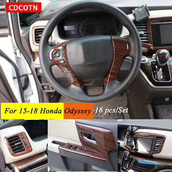16Pcs Car Sticker Interior Wood Grain Color Cover Stickers Trim Panel Overlay Frame Kit Fit For15-18 Odyssey Auto Car Accessorie