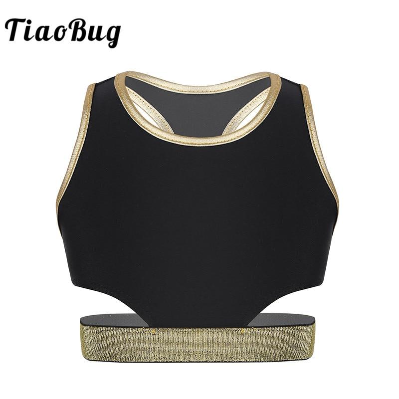 TiaoBug Kids Girls Sleeveless Racer Back Stretchy Workout Crop Tops Performance Dance Costume Ballet Gymnastics Tops Dancewear
