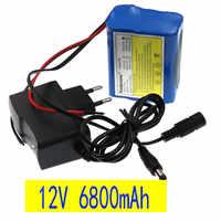 Novo original 12 v 6.8 ah 6800 mah 18650 baterias recarregáveis 12 v com bms bateria de lítio placa proteção + 12.6 v carregador