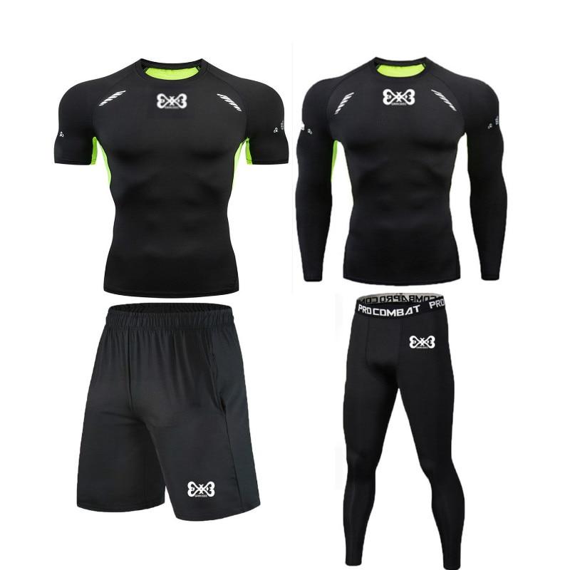 HOT Compression Men Sport Suits Quick Dry Fit Running Leggings Sports Jogging Training Gym Fitness Tracksuits Set MMA Rashguard