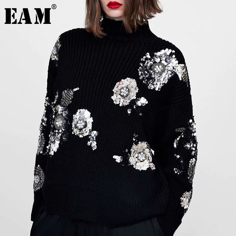 [EAM] Sequins Big Size Knitting Sweater Loose Fit Turtleneck Long Sleeve Women Pullovers New Fashion Tide Spring 2020 1N529