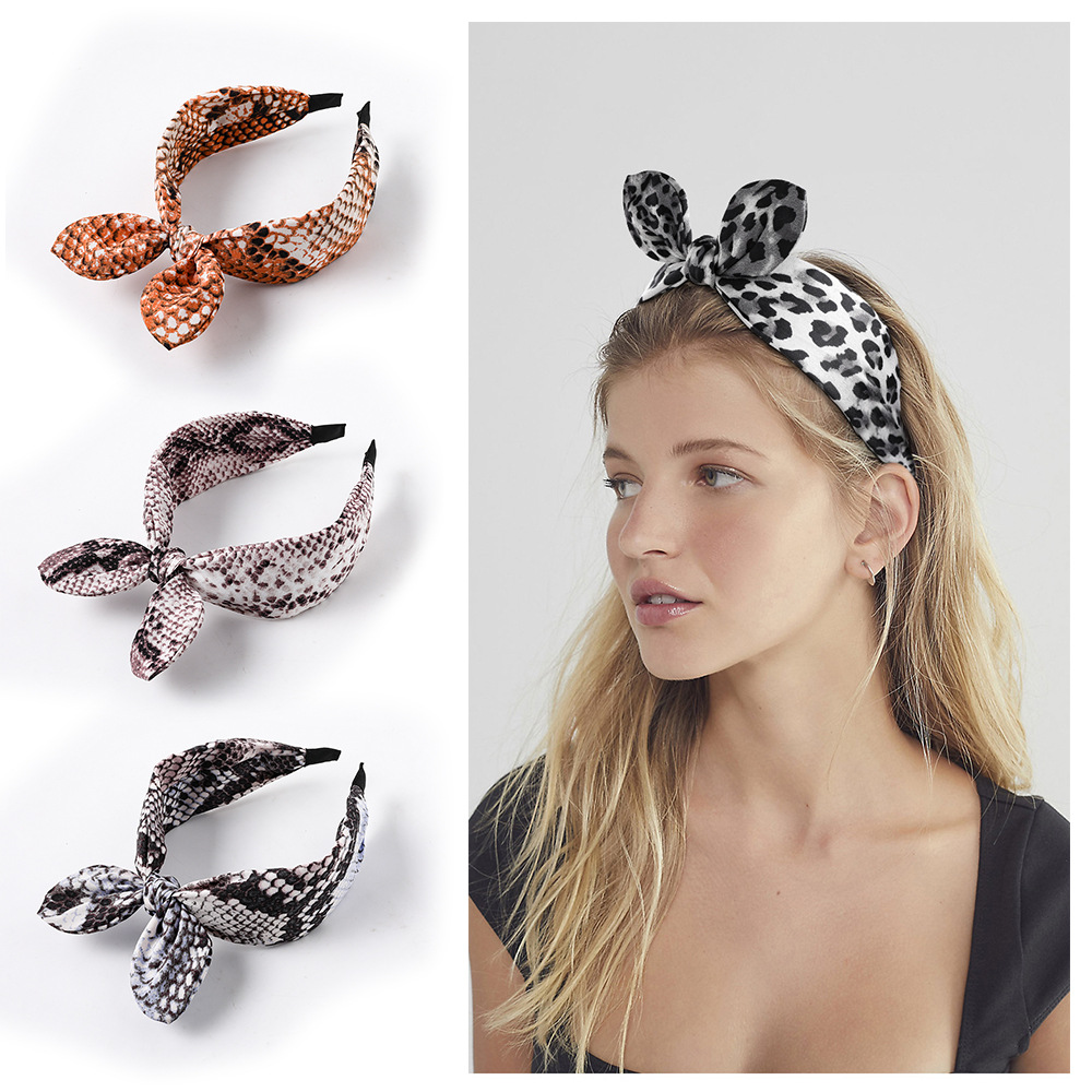 Crossed Rabbit Ears HairbandsLeopard Knotted Hoop Wide Edge Fabric Headband For Wash Face Women's Hair Accessories Fashion Bow
