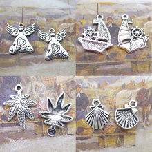 BANMAR 10pcs Charms alloy Angel Sailboat leaf sea shell silver plated Pendant For Jewelry Making L3