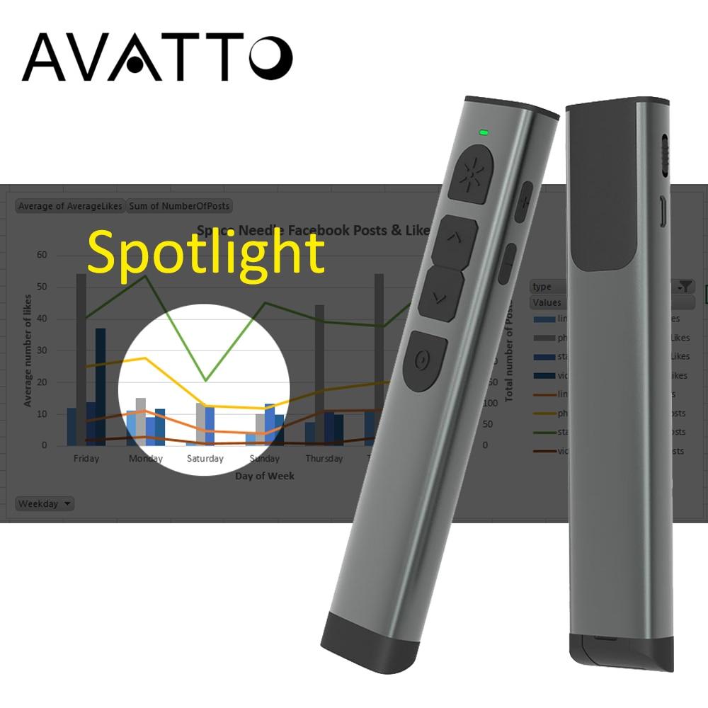 Boîtier en métal projecteur numérique Laser 2.4G sans fil présentation télécommande, Rechargeable PPT présentateur Clicker avec souris d'air