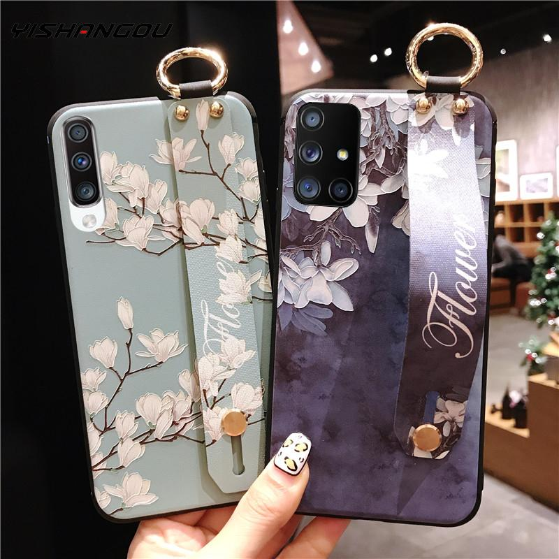 Wrist strap phone holder silicone case For Samsung S20 Ultra Note 10 9 S10 Plus S10e Flowers Leaves Patterned Soft Back Cover