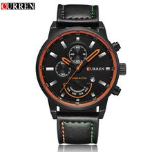 цена на Curren Mens Sports Watch Luxury Leather Strap Quartz Watches Military Casual Waterproof Wristwatch Male Clcok Relogio Masculino