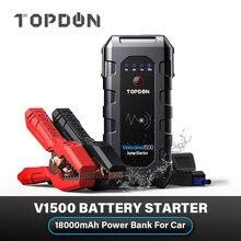 Topdon V1500 Battery Starter for Car 1500A Peak Car Jump Starter Starting Device 18000mAh Power Bank 12V Auto Battery Booster