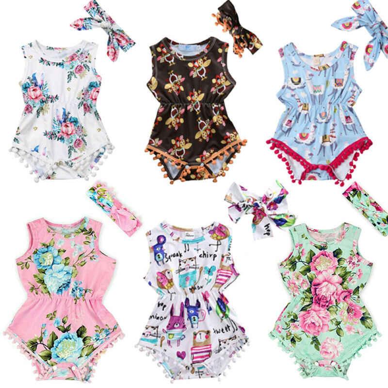 الوليد الرضع طفلة الملابس رومبير مٌزين بنقشة الزهور بذلة ارتداءها عقال الاطفال الزي الطفل الملابس لفتاة