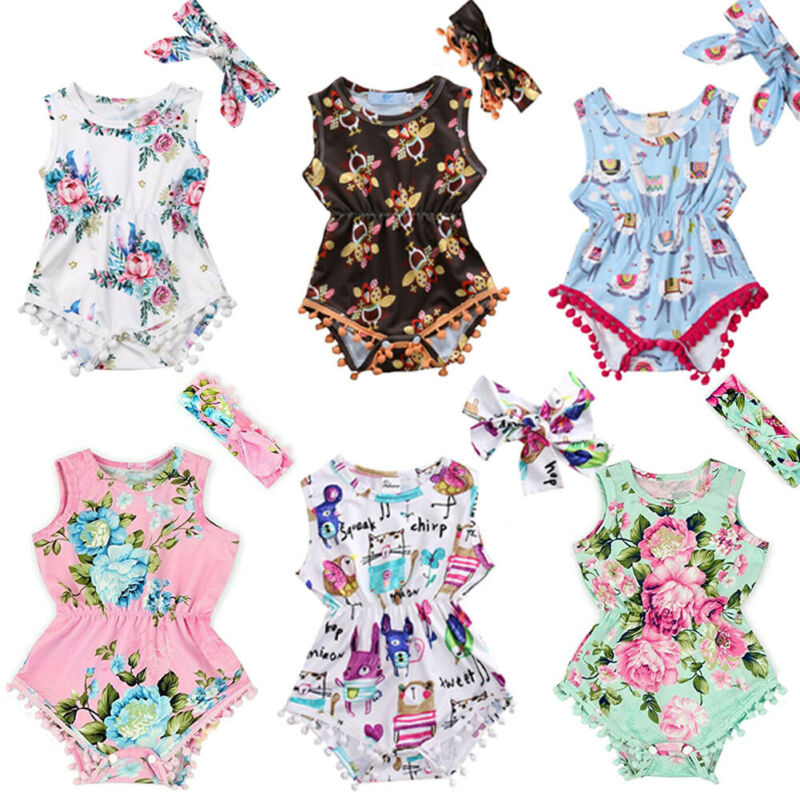 Baby Headband Girl Jumpsuit Newborn Outfit Infant Floral Bodysuit Clothes Romper