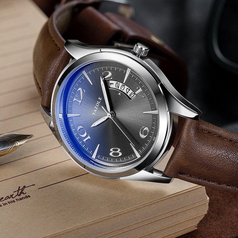 YAZOLE Men's Watches Relogio Masculino Business Calendar Waterproof Men Watch Men's Watches Top Brand Luxury Leather Clock