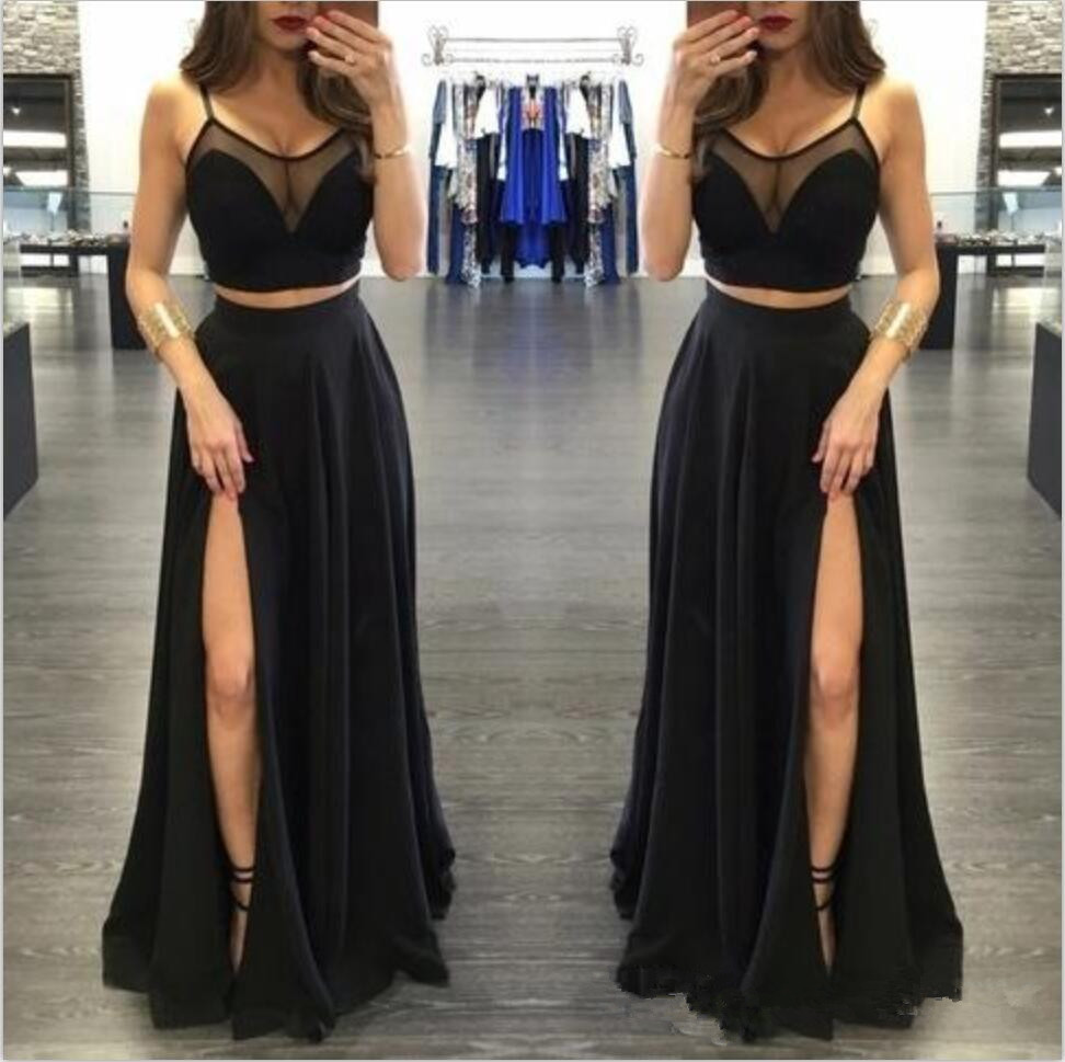 Sexy Black Two Pieces Prom Dresses 2019 High Side Split Floor Length A Line Evening Party Gowns Custom Made Formal Prom Dress