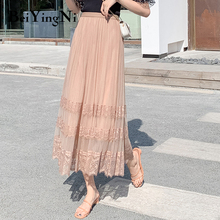 Beiyingni 2020 Summer Lace Patchwork Casual High Waist Midi Tulle Skirt Woman Vintage Charming Long Tutu Skirt Ladies White Pink