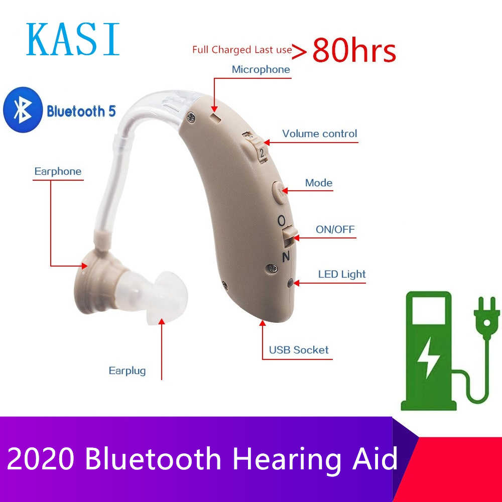 2020 Baru Terbaik Rechargeable Nirkabel Bluetooth Alat Bantu Dengar Headphone BTE Penambah Suara Amplifier Digital untuk Orang Tuli Orang Tua