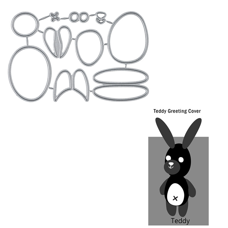 Diyarts Teddy Greating Cover Metal Cutting Dies for Craft Scrapbooking Embossing Die Cut Stencil Christmas