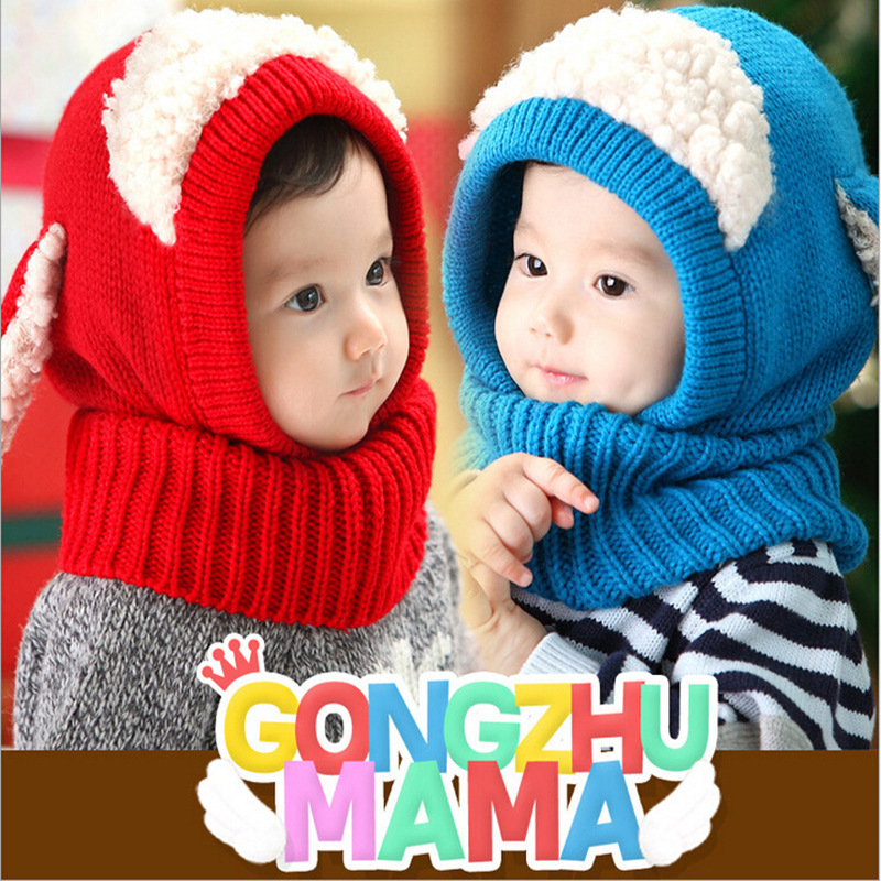 Cute Baby Wool  Knitting Dog Ears Hat Scarf Set Warm Ear Protection Cap  Autumn Winter Kids Fashion