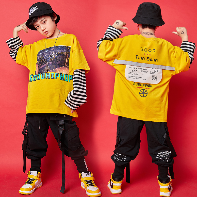 Boys Jazz Costume Yellow Blouse Black Pants Hiphop Kids Street Dancing Clothes Childrens Dance Costumes Stage Show Wear SL1950
