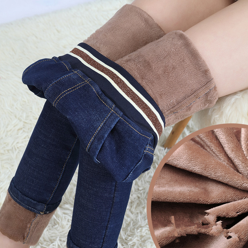 Fashion Black Fleece Jeans Women Winter Warm Thicken Denim Pencil Pants 2019 Blue Slim Jean Pants New Sexy Streetpants P9234